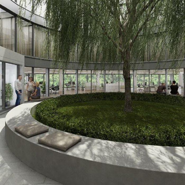 Bau mit runden Fronten und raumhohen Glasfassaden sager partner halten