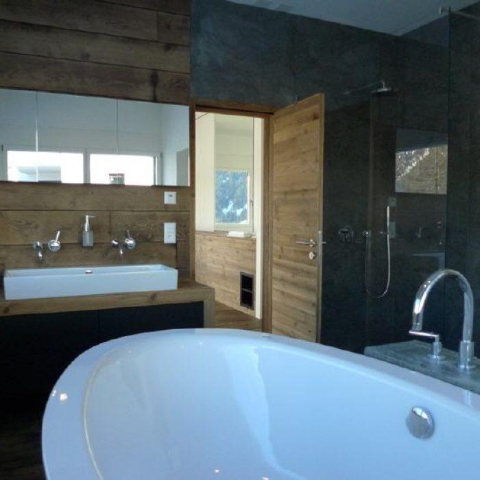 moderner bau, badezimmer chalet in den bergen davos Sager Partner